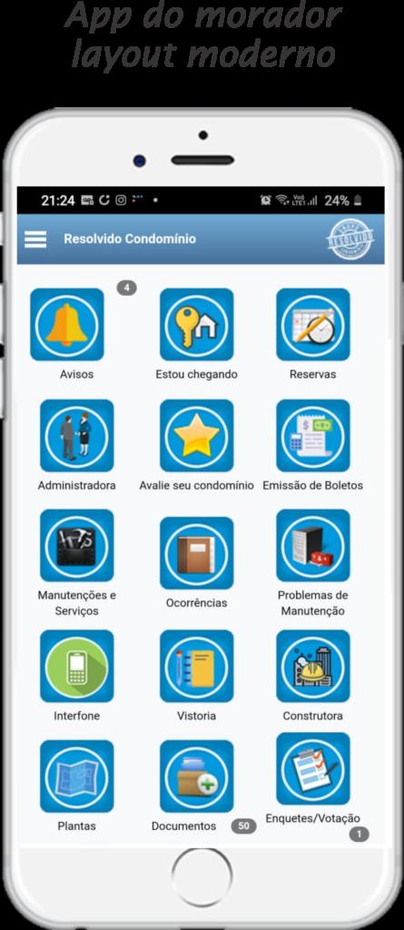 App do morador layout moderno